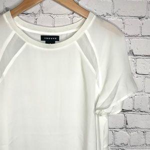 {Trouve} sz M white polyester blouse
